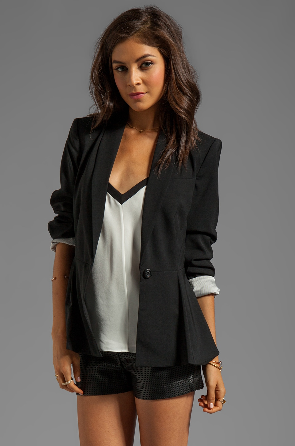 Alice + Olivia Pip Shawl Peplum Blazer in Black