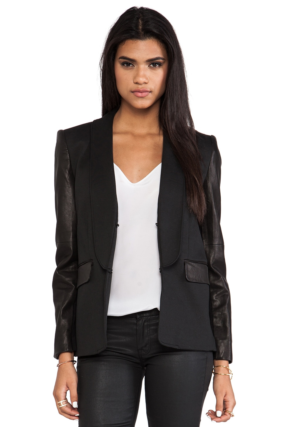 Alice + Olivia Hartley Leather Sleeve Blazer in Black