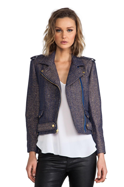 Alice + Olivia Kellen Cropped Army Zip Jacket in Blue/Gold