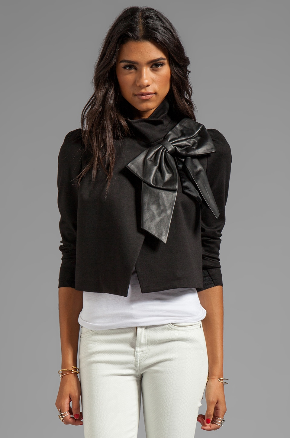 Alice + Olivia Shandy Side Leather Bow Cropped Jacket in Black