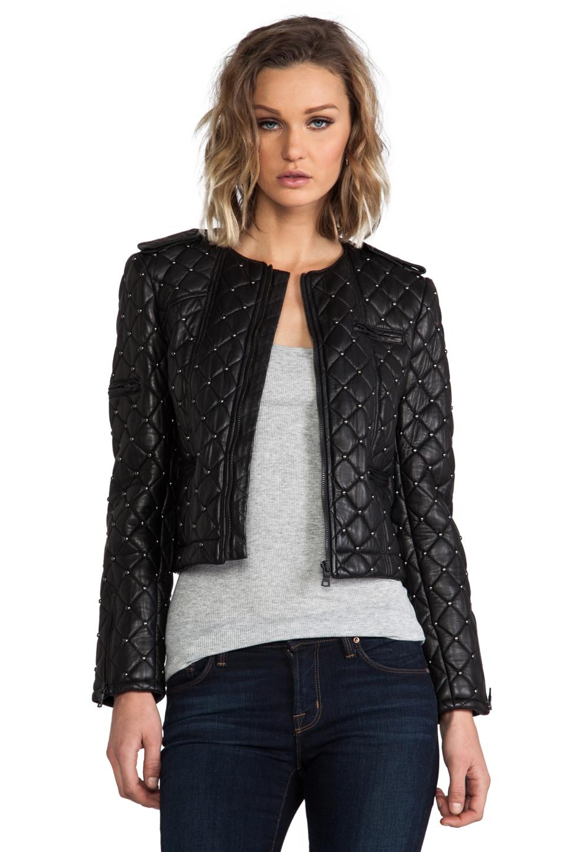 Alice + Olivia Siri Quilted Zipper Sleeve Biker Jacket in Black
