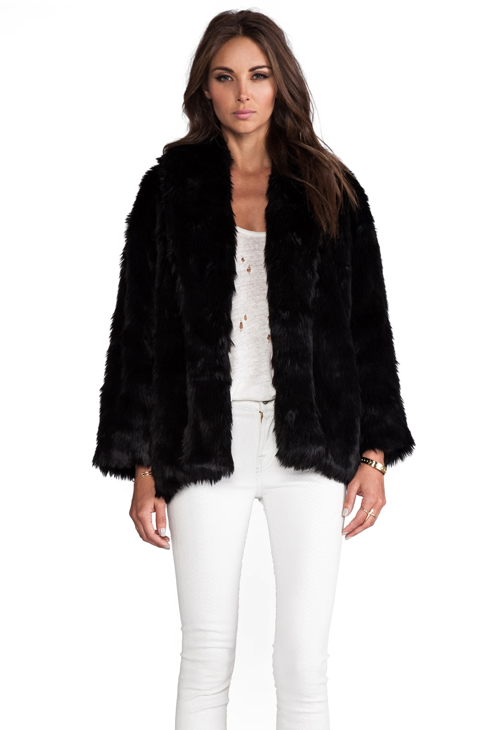 Alice + Olivia Alita Oversized Shawl Collar Faux Fur Coat in Black