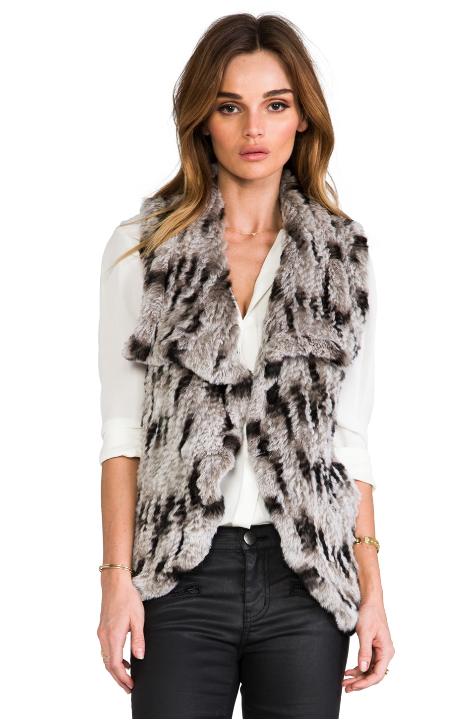 Alice + Olivia Celine Fur Vest in Black/Grey/White