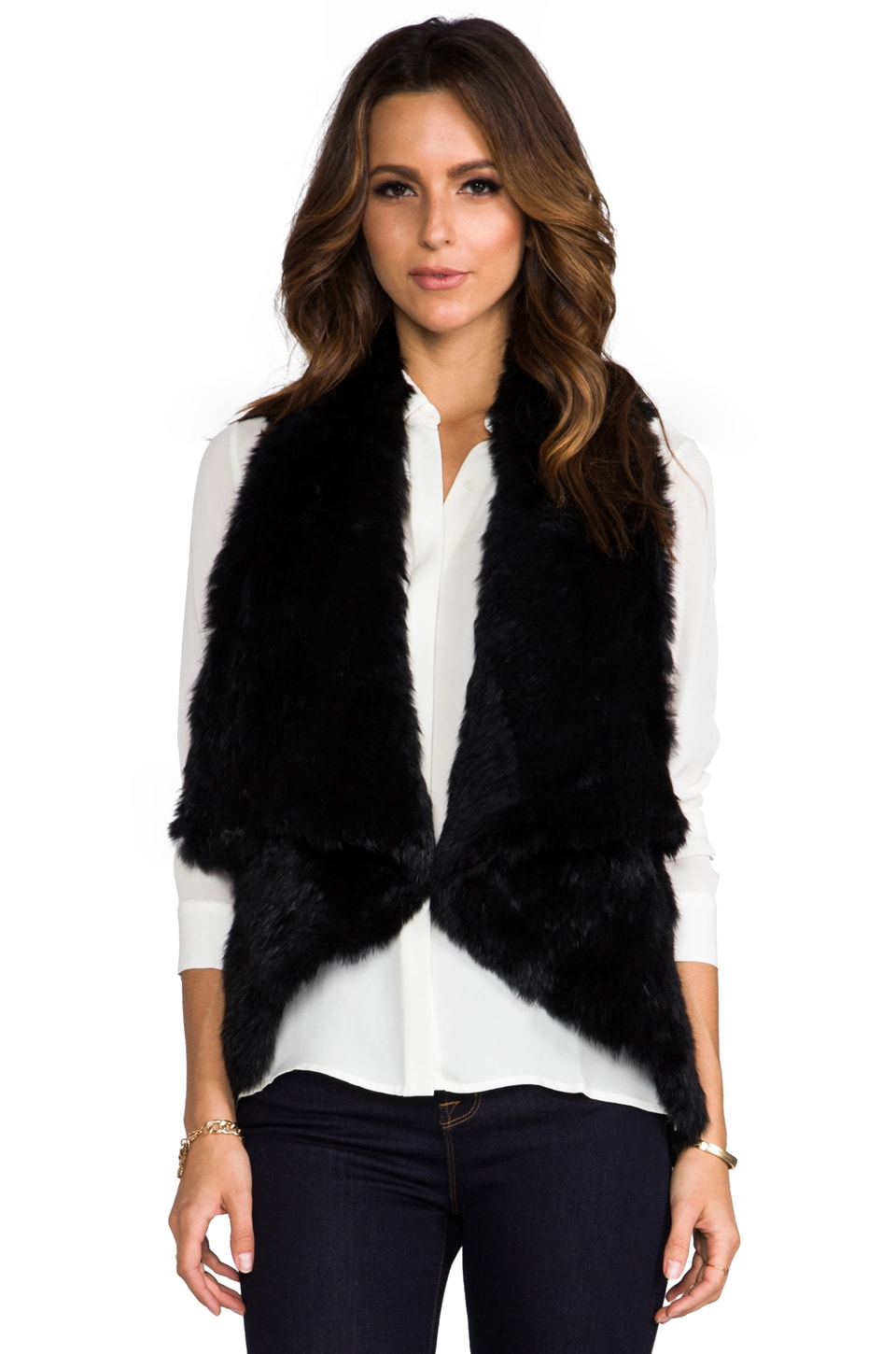 Alice + Olivia India Fur Cascade Vest in Black