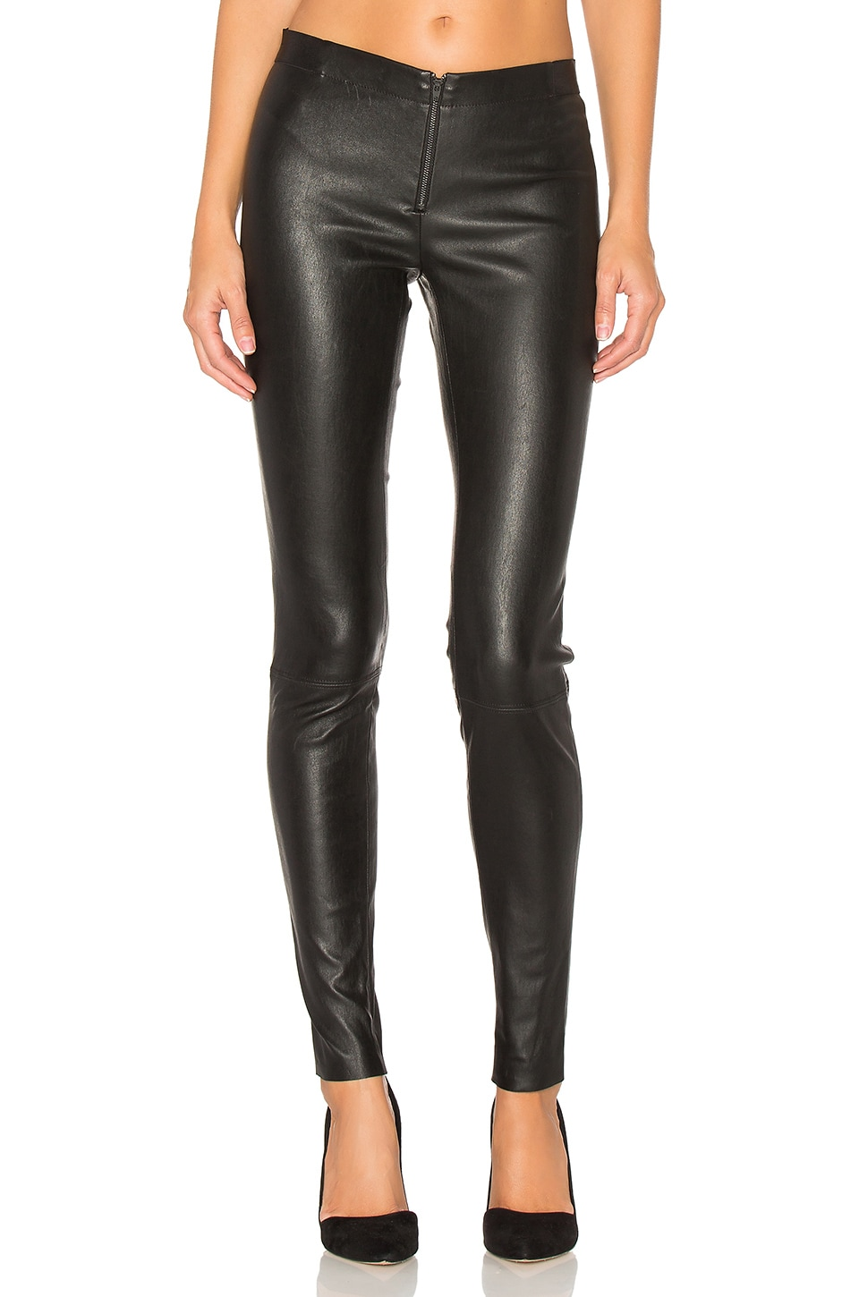 Alice + Olivia Front Zip Leather Legging in Black