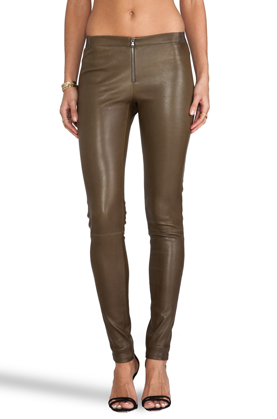 Alice + Olivia Front Zip Leather Legging in Olive