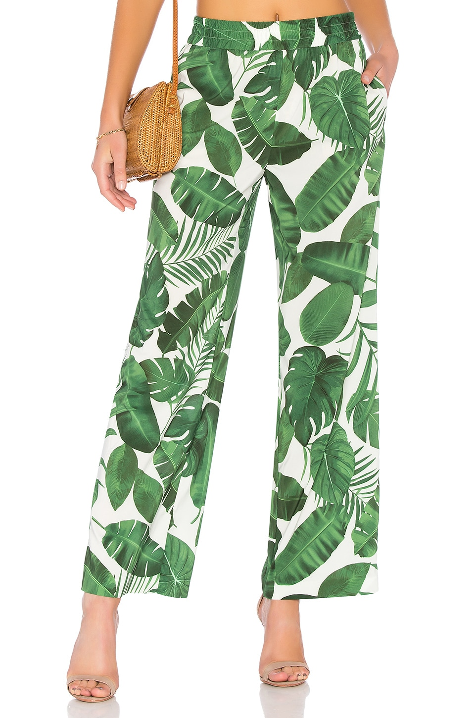 Alice + Olivia Benny Pant in Tropical Leaves