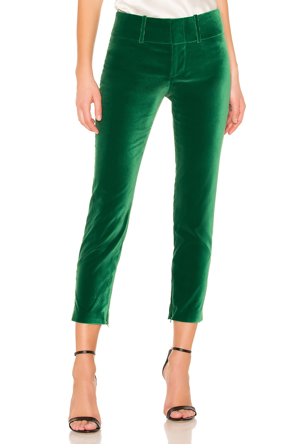 Alice + Olivia Stacey Velvet Pant in Juniper