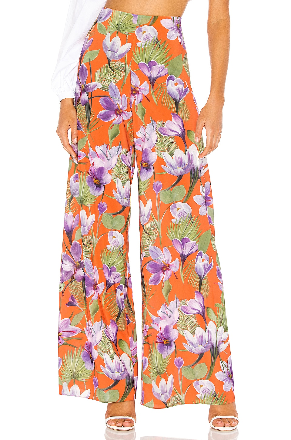 Alice + Olivia Athena Wide Leg Pant in Floral Palm Coral