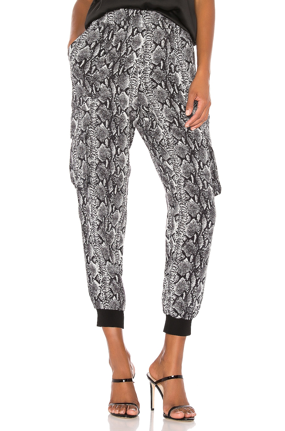 Alice + Olivia Jadon Pull Up Cargo Pant in Snake Soft White