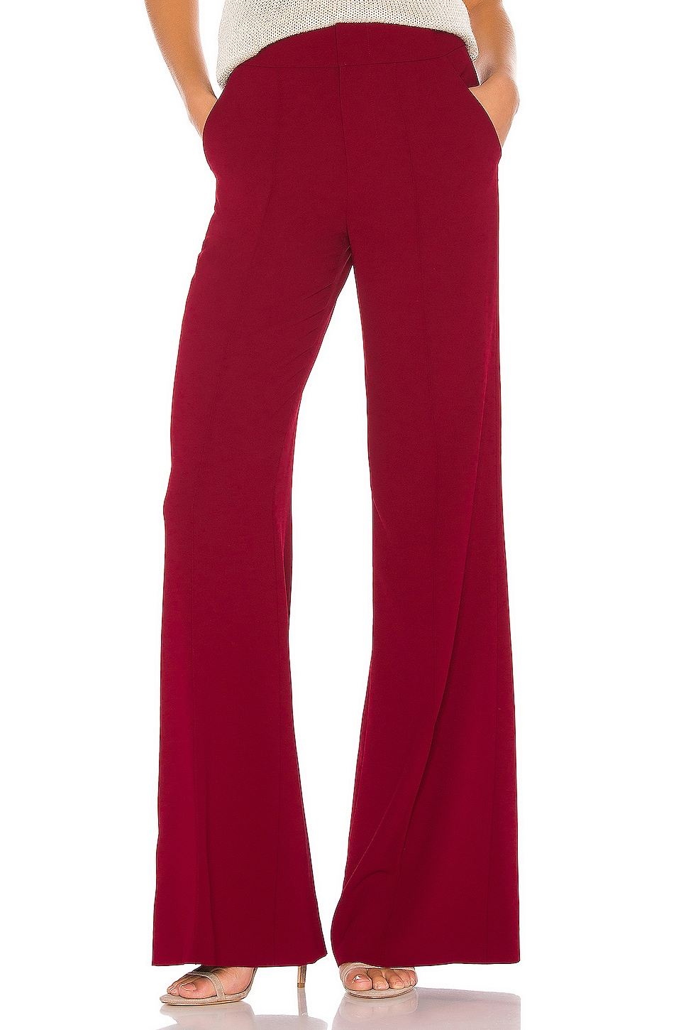 Alice + Olivia Dylan High Waist Wide Leg Pant in Bordeaux
