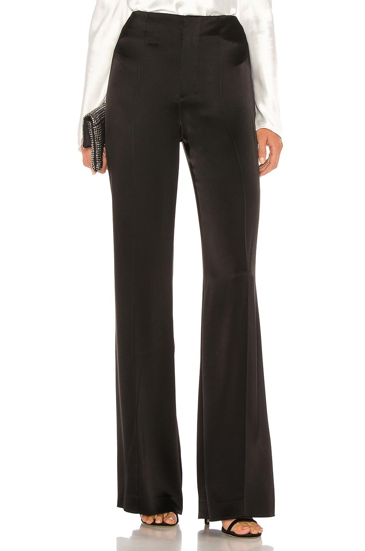Alice + Olivia Dylan Clean High Waist Wide Leg Pant in Black