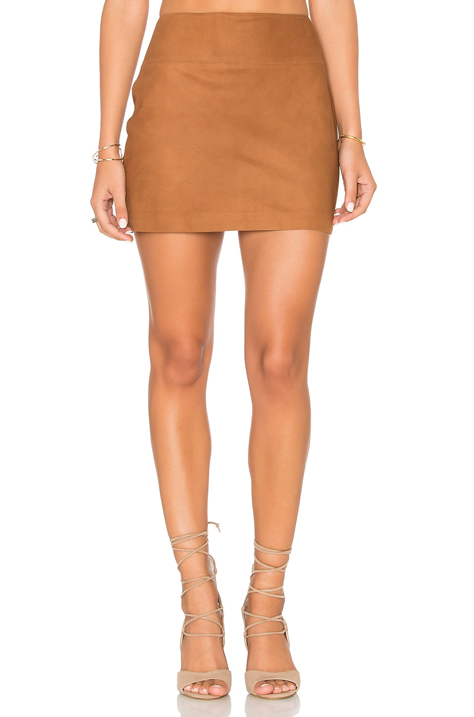 Alice + Olivia Sophya Suede Mini Skirt in Tobacco