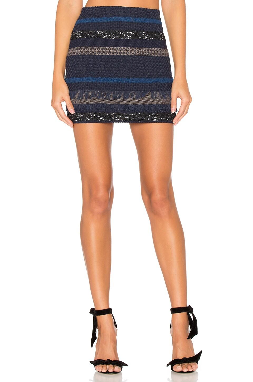 Alice + Olivia Elana Mini Skirt in Blue Multi