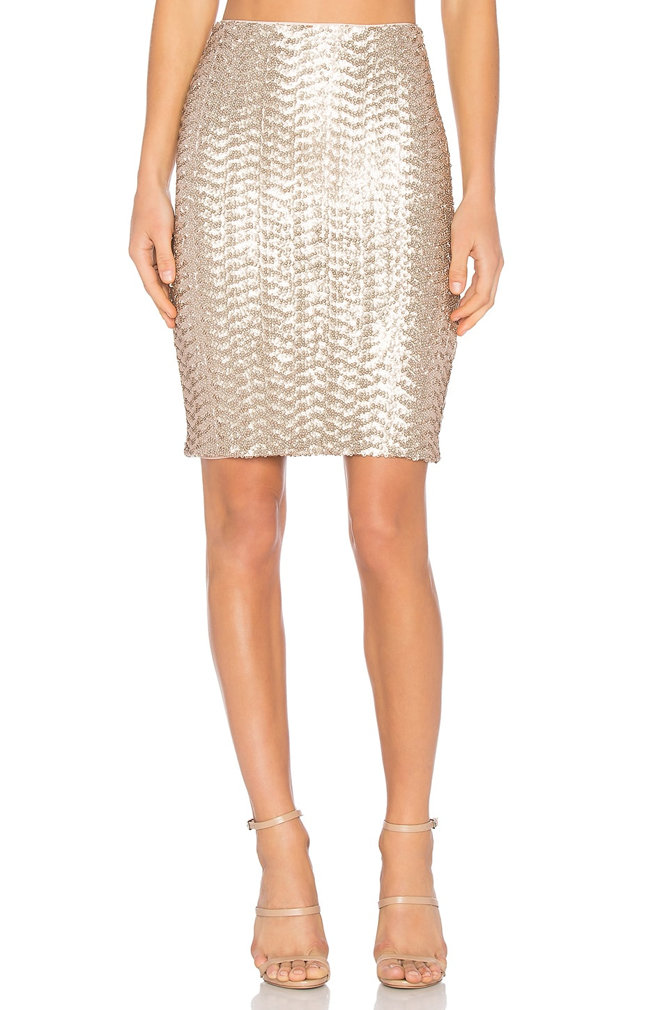 Alice + Olivia Ramos Sequin Midi Skirt in Nude Pink