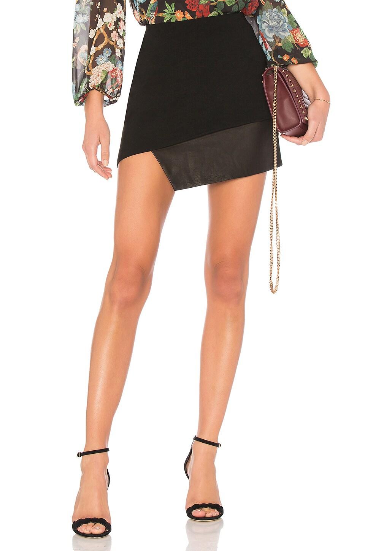 Alice + Olivia Dora Asymmetric Leather Combo Skirt in Black