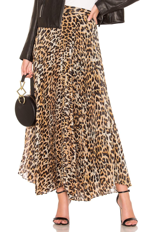 Alice + Olivia Katz Pleated Maxi Skirt in Spotted Leopard Multi