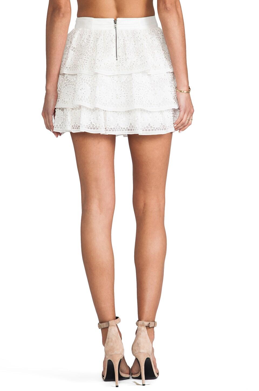 Alice + Olivia Ruba Crochet Beaded Ruffle Skirt in Off White