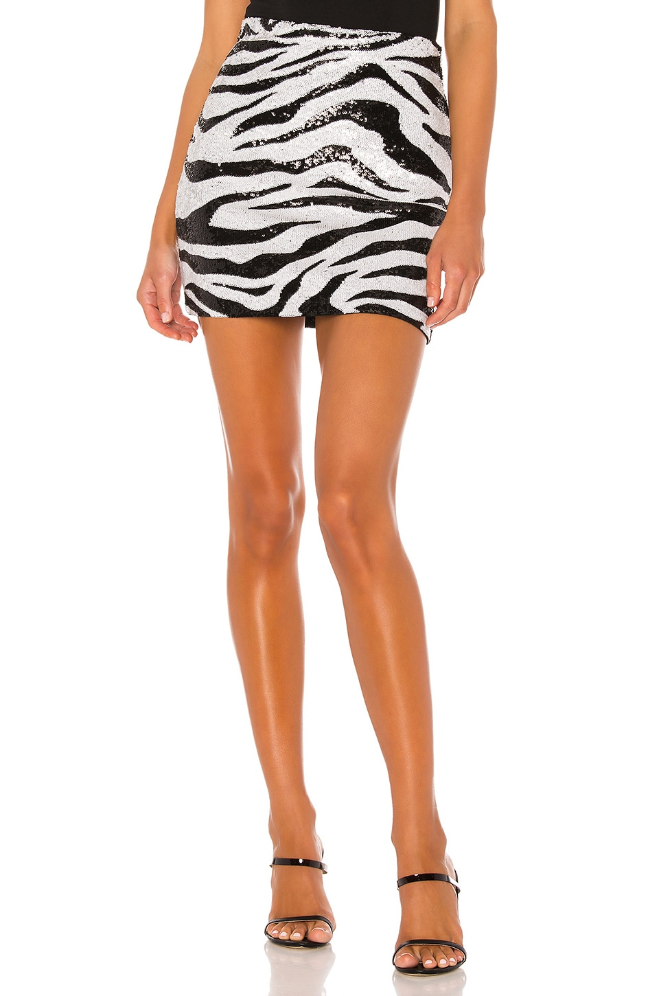 Alice + Olivia Ramos Sequin Fitted Mini Skirt in LG Tiger SFT White & Black
