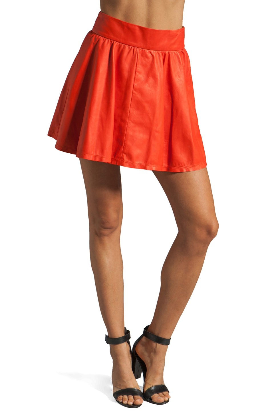 Alice + Olivia Luann Leather Wide Waistband Flare Skirt in Papaya