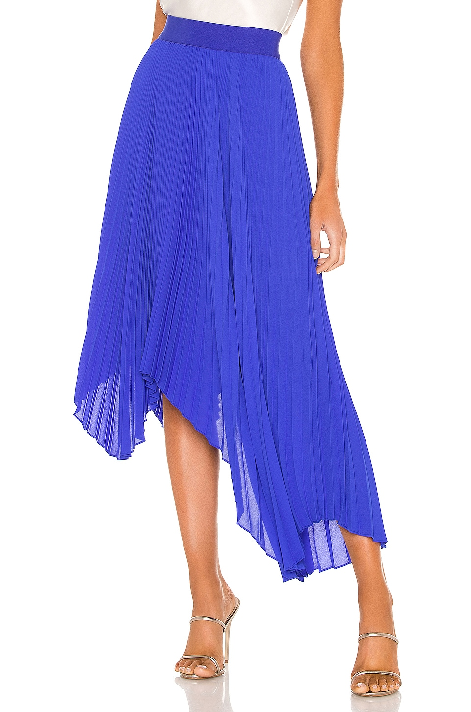 Alice + Olivia Koryn Asymmetrical Pleated Skirt in Ultramarine