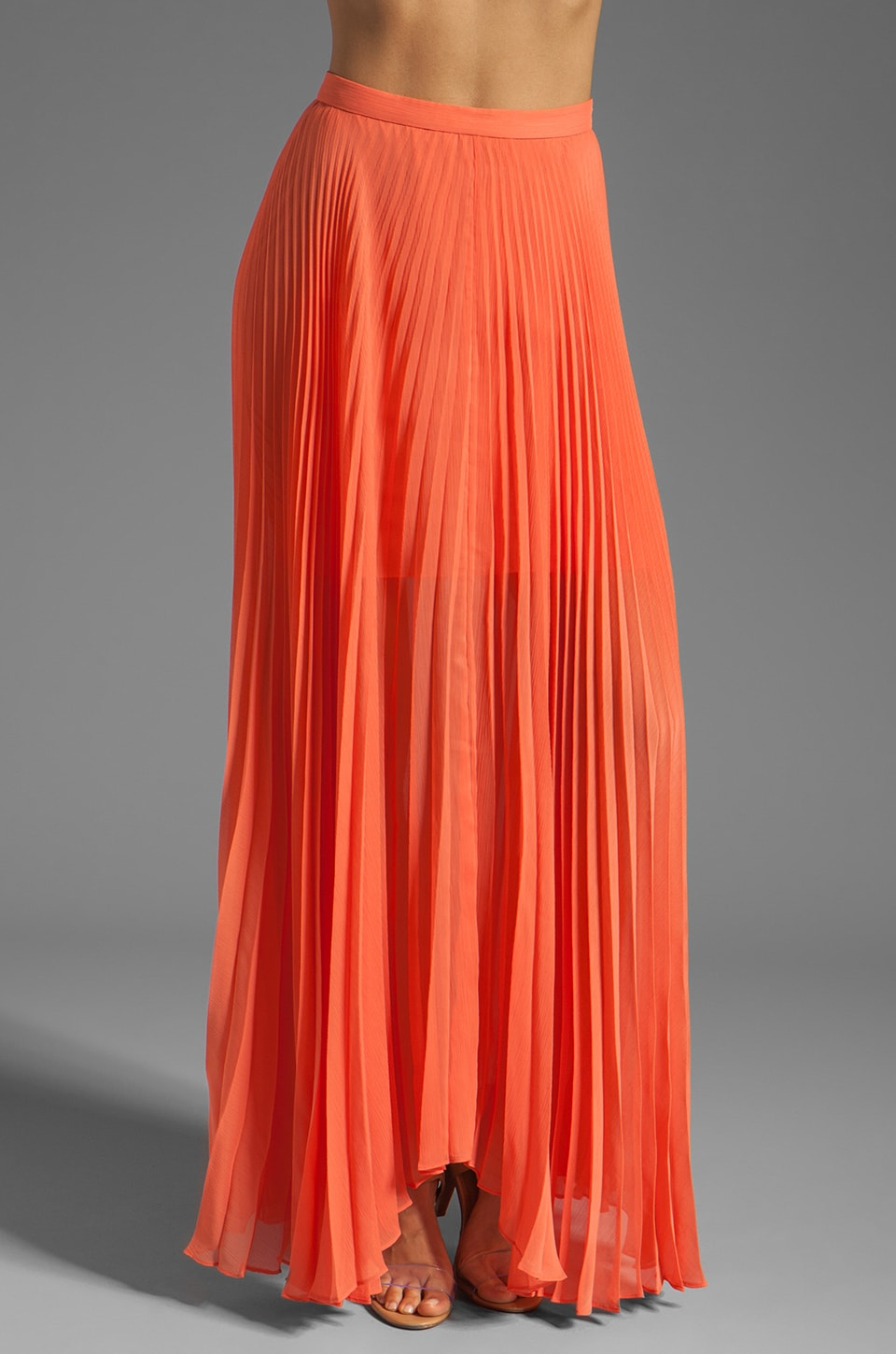 Alice + Olivia Shannon Pleated Maxi Skirt en Papaye
