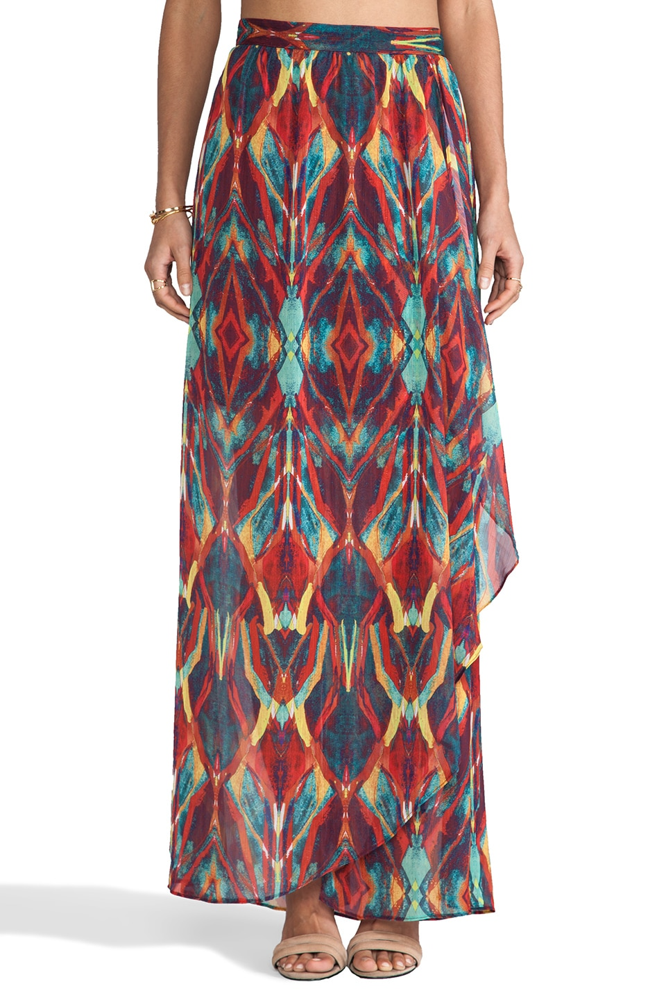 Alice + Olivia Miabella Wrap Slit Maxi Skirt in Tribal Diamond