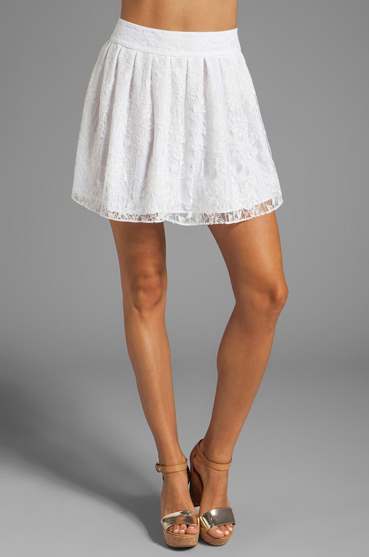 Alice + Olivia Rei Box Pleat Skirt in White