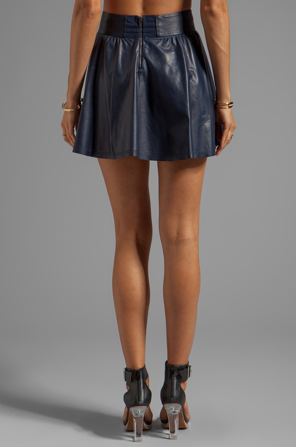 Alice + Olivia Luann Leather Flared Skirt in Navy