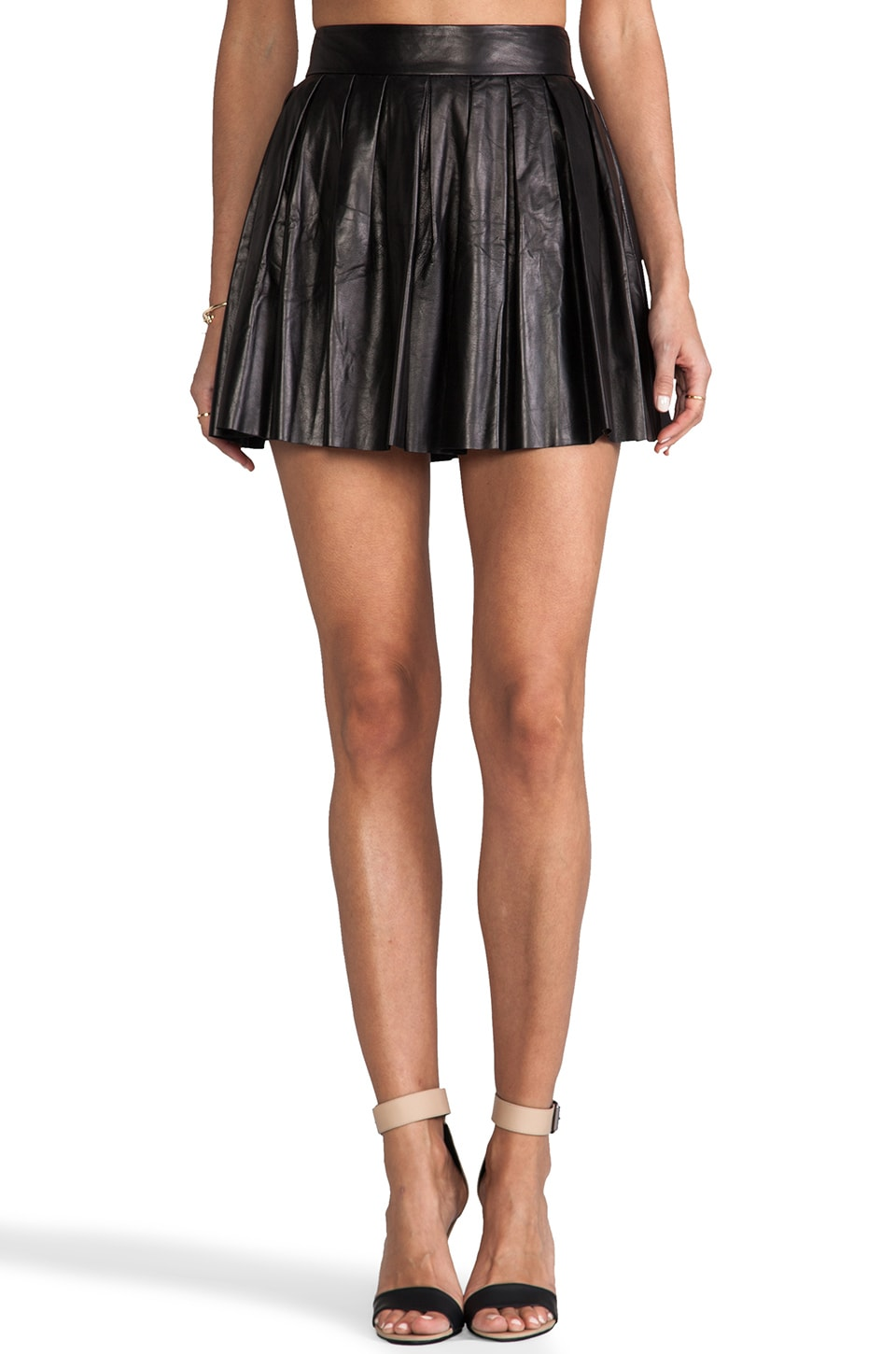 Alice + Olivia Dara Box Pleat Leather Skirt in Black