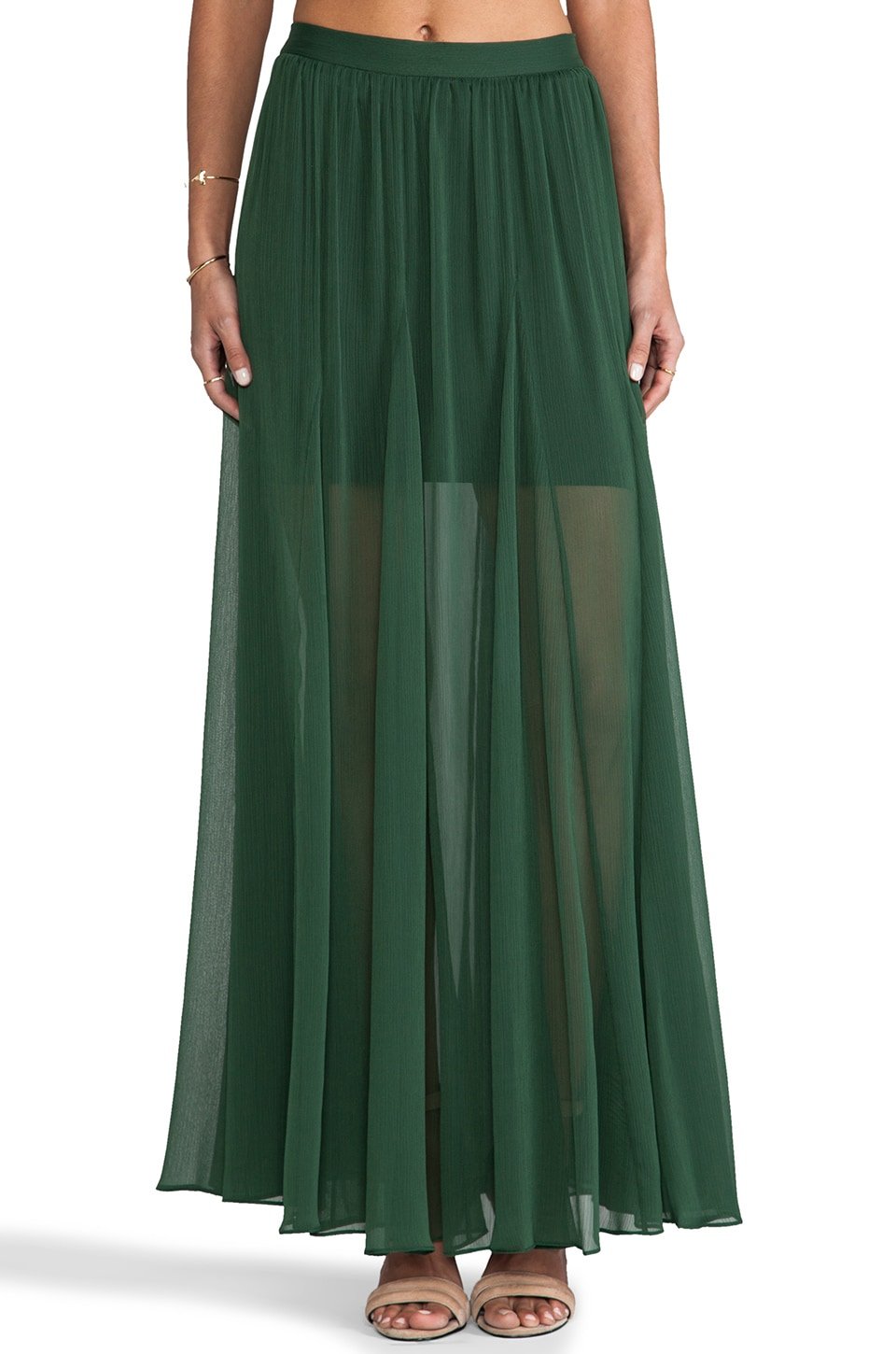 Alice + Olivia Adme Long Godet Maxi Skirt in Pine