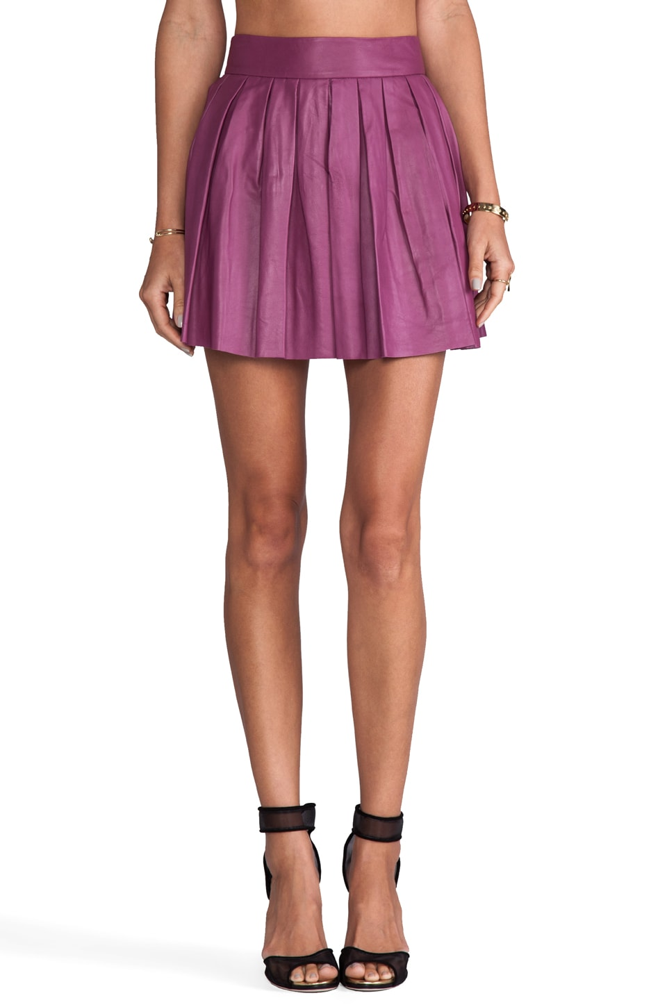 Alice + Olivia Box Pleat Leather Skirt in Mulberry