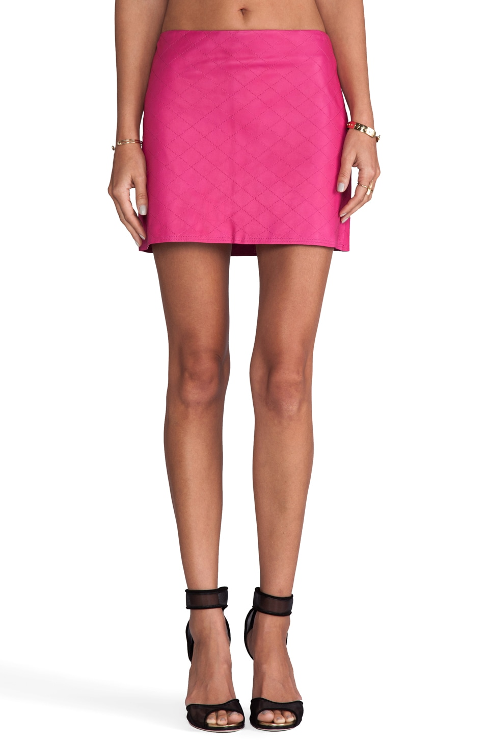 Alice + Olivia Brigitta Leather Mini Skirt in Fuchsia