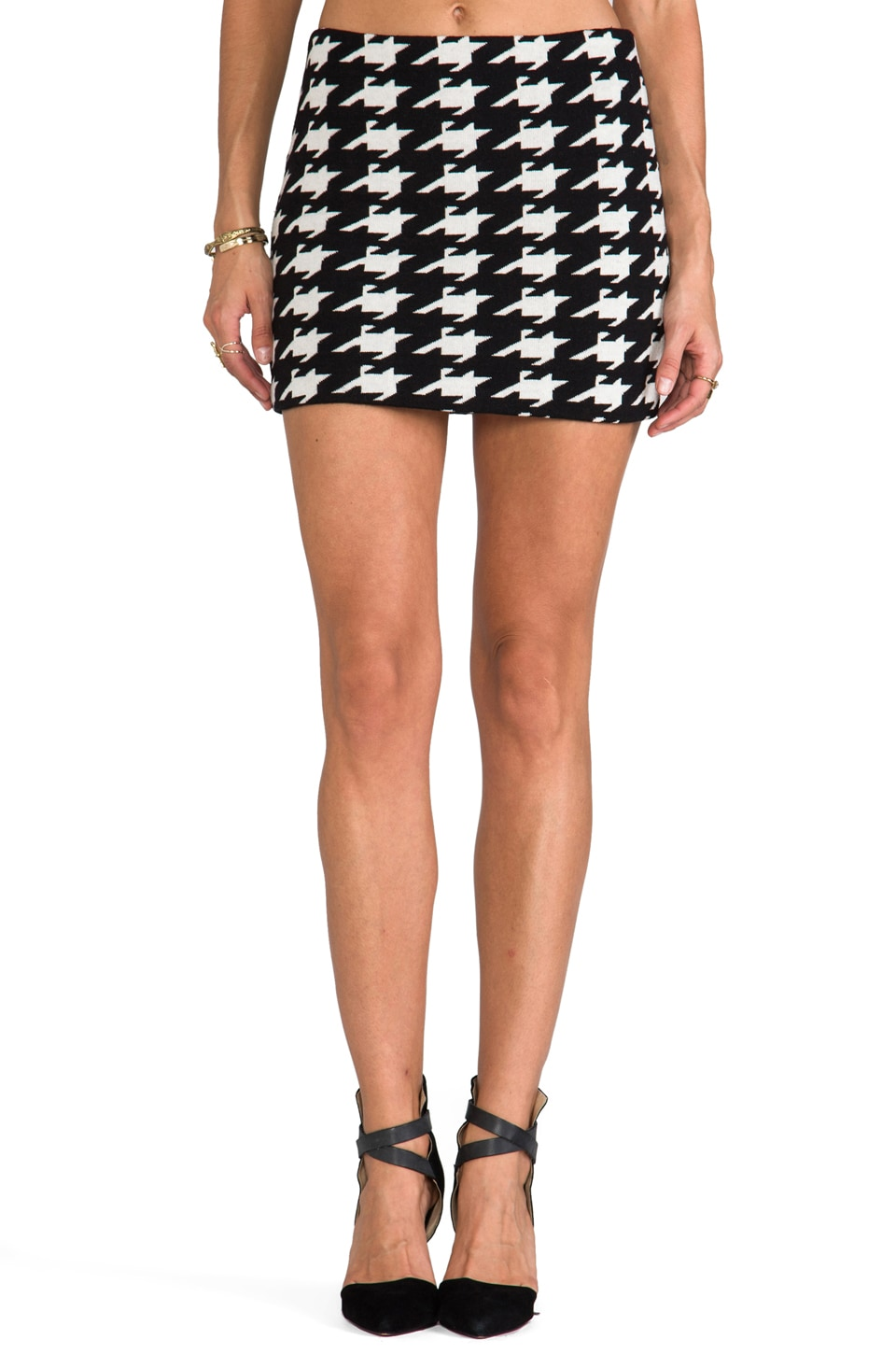 Alice + Olivia Elana Mini Skirt in Black/White