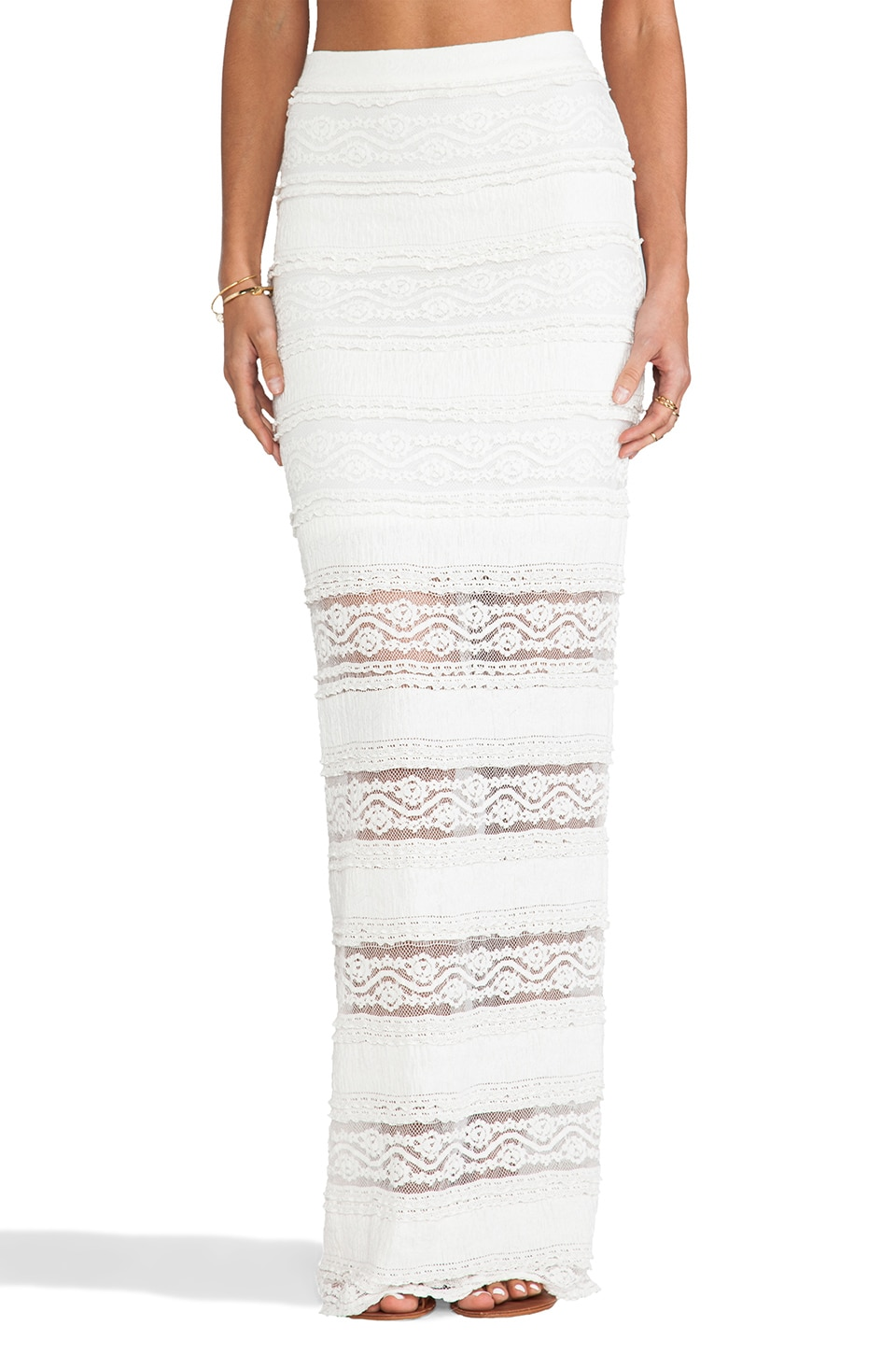 Alice + Olivia Ettley Lace Maxi Skirt in Cream