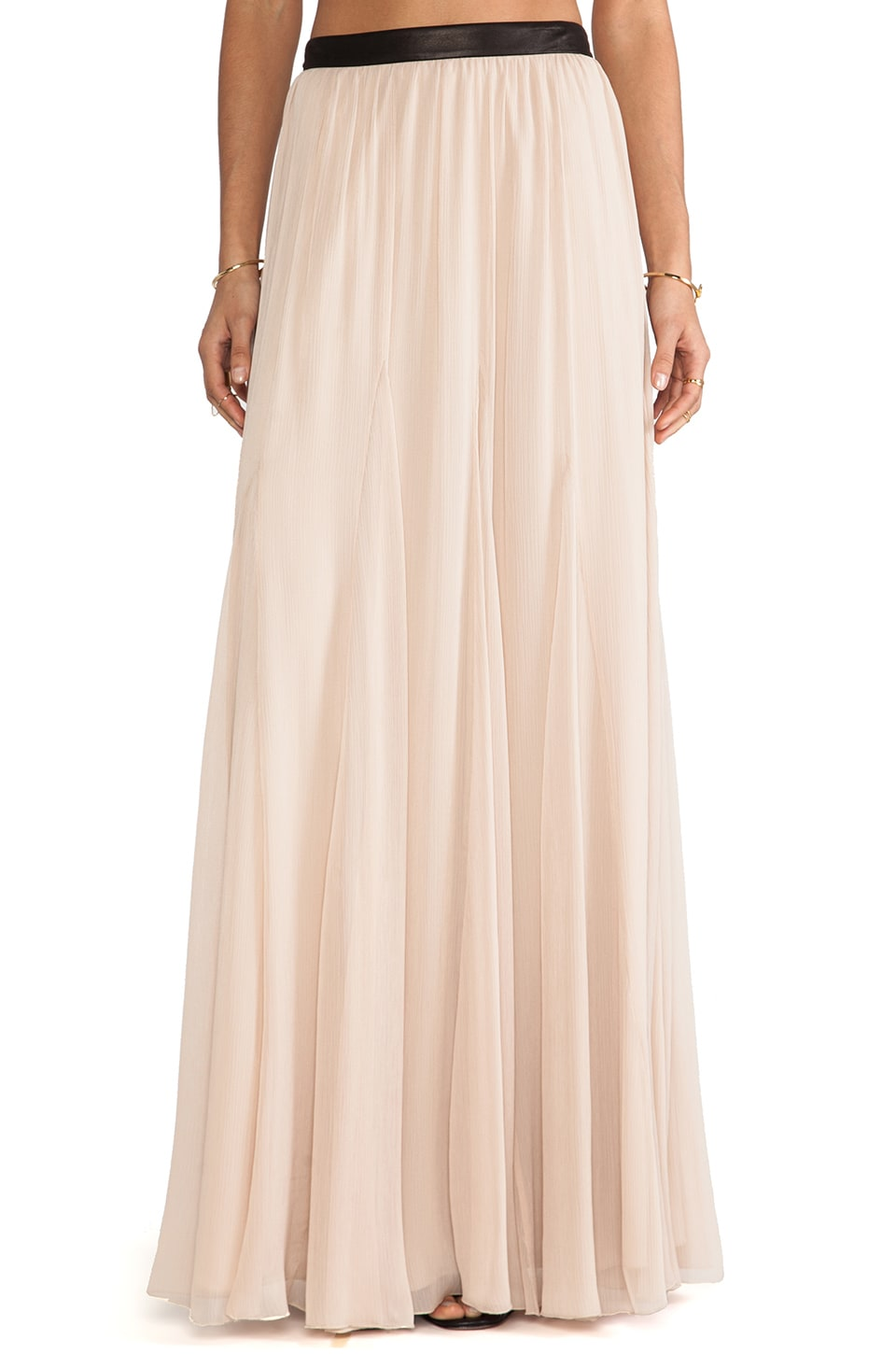 Alice + Olivia Dawn Godet Maxi Skirt in Nude