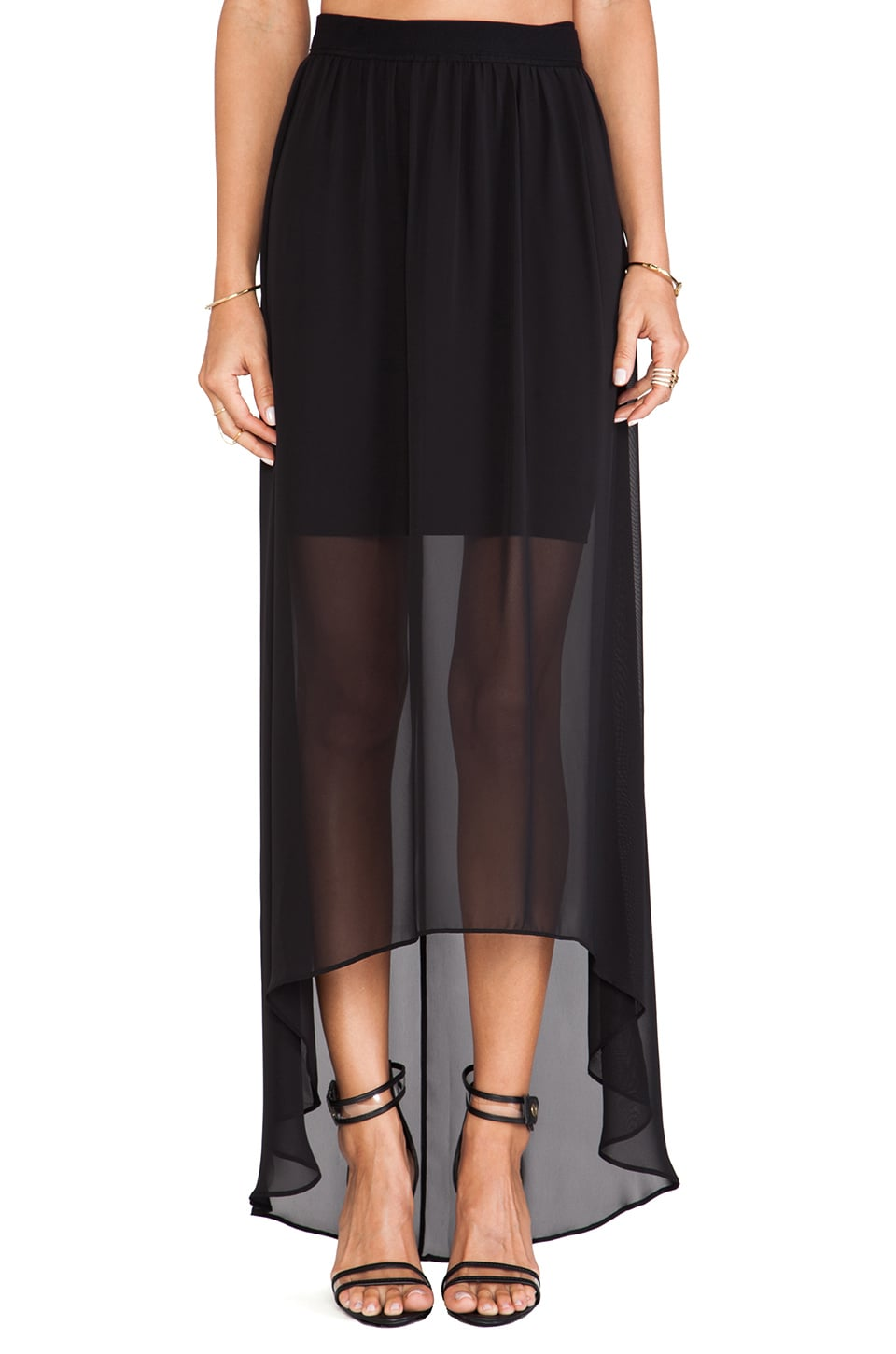 Alice + Olivia Rome Sheer Maxi Skirt in Black