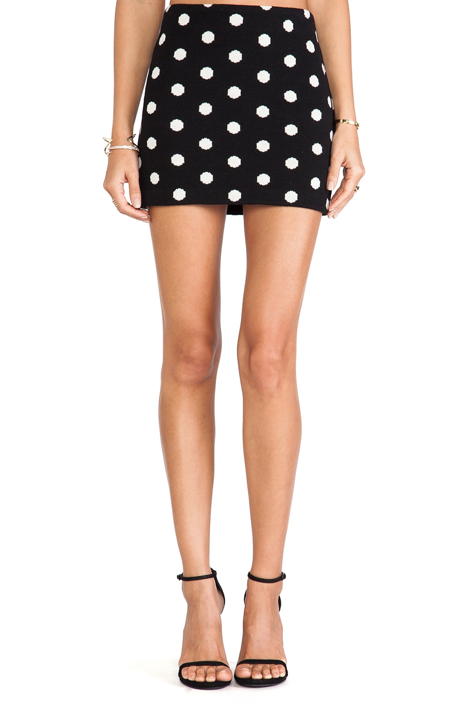Alice + Olivia Elana Mini Skirt in Black & White