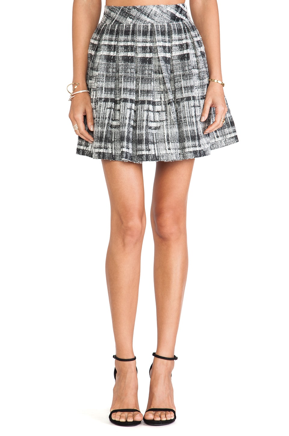 Alice + Olivia Kayla Box Pleat Skirt in Black & White