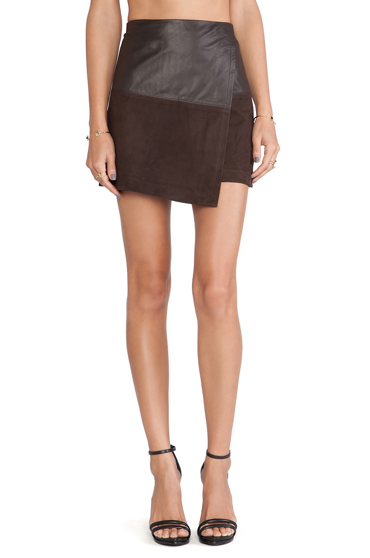 Alice + Olivia Leather Wrap Mini Skirt in Chocolate