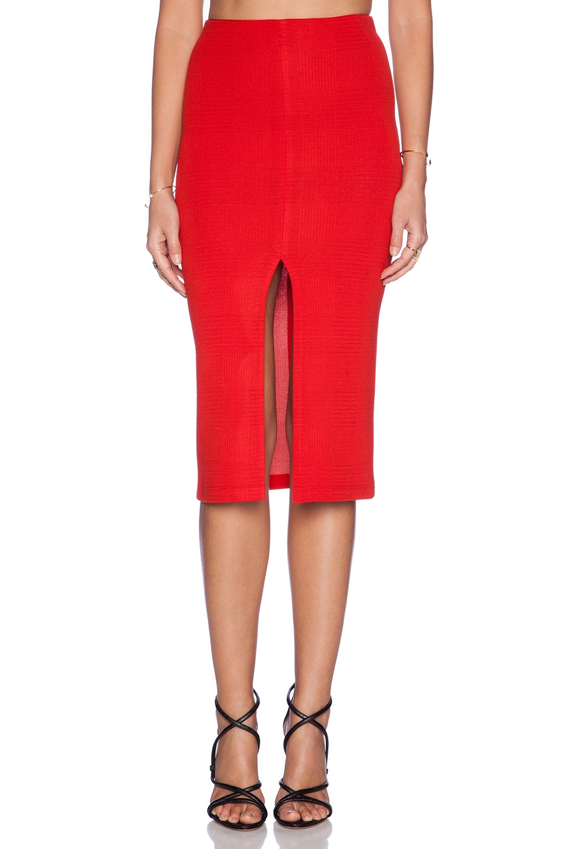 Alice   Olivia Spiga Front Slit Pencil Skirt in Red | REVOLVE