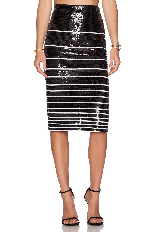 Alice + Olivia Rue Sequin Stripe Pencil Skirt in Black & White