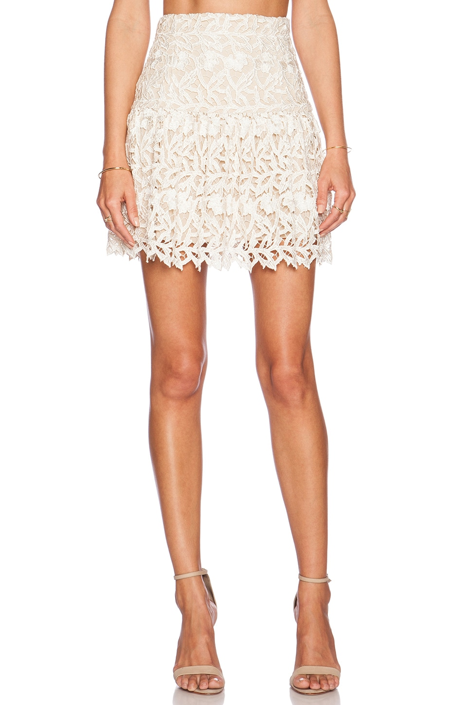 Alice + Olivia Jayce Drop Waist Skirt in Cream & Natural