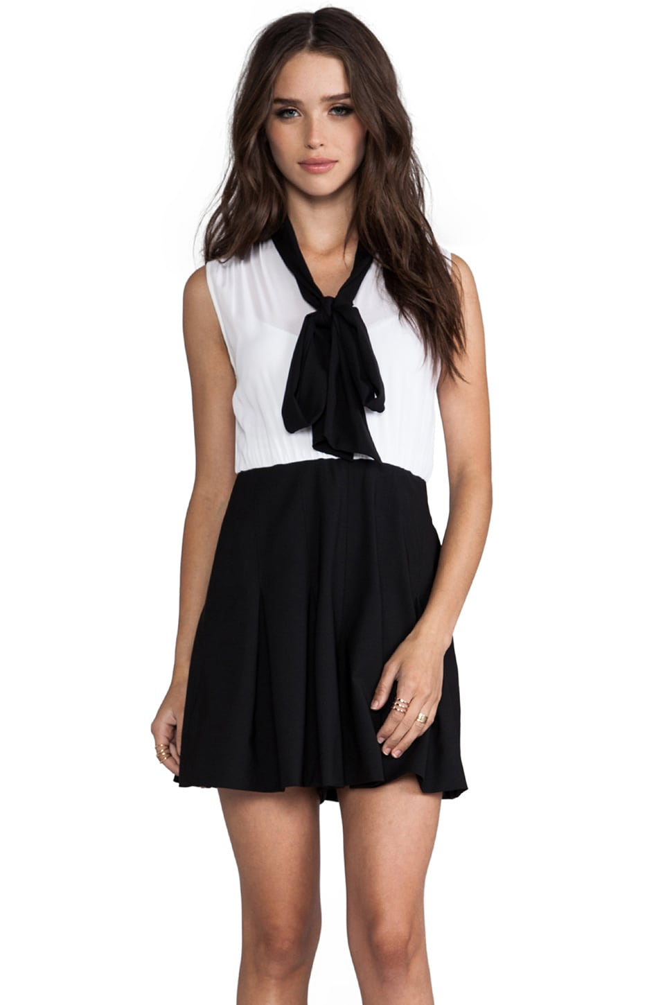 Alice + Olivia Kimmy Sleeveless Tie Neck Romper in Black