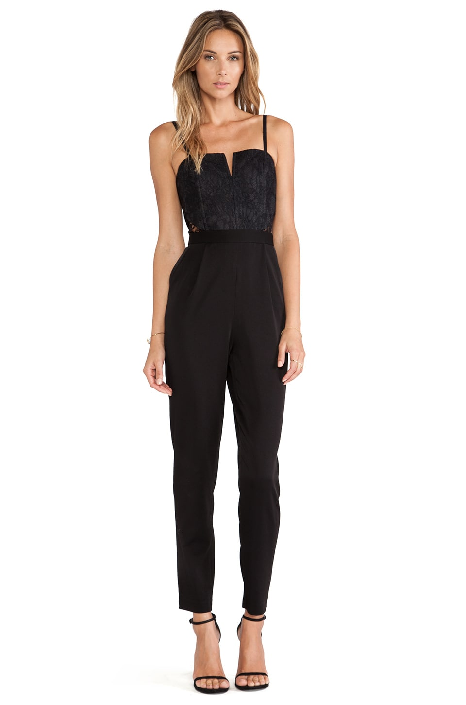 Alice + Olivia Structured Bustier Jumpsuit in Black