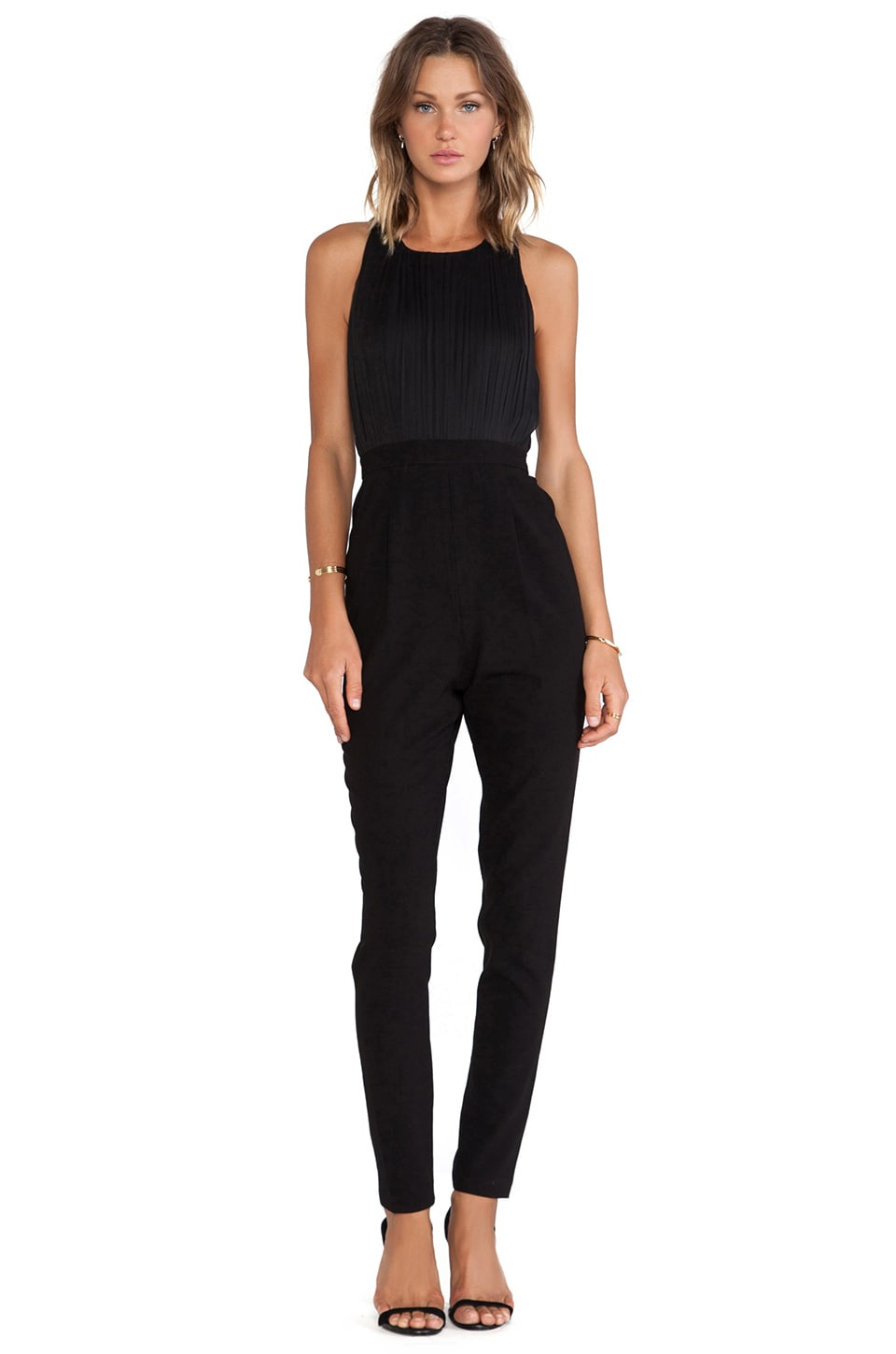 Alice + Olivia Angen T Back Jumpsuit in Black