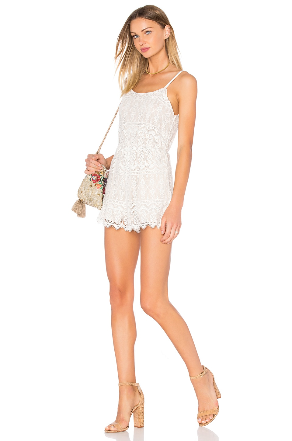 Alice + Olivia Cassia Lace Romper in Ivory & Natural