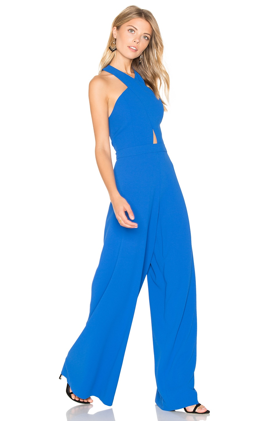 Alice + Olivia Trinity Cross Front Jumpsuit in Cobalt