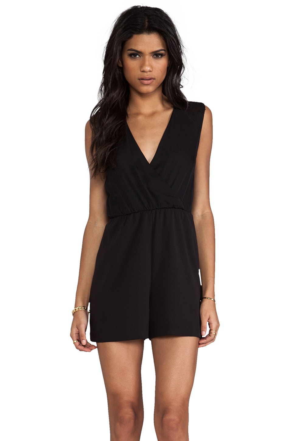 Alice + Olivia Marlo Cross Over Shirred Back Romper in Black
