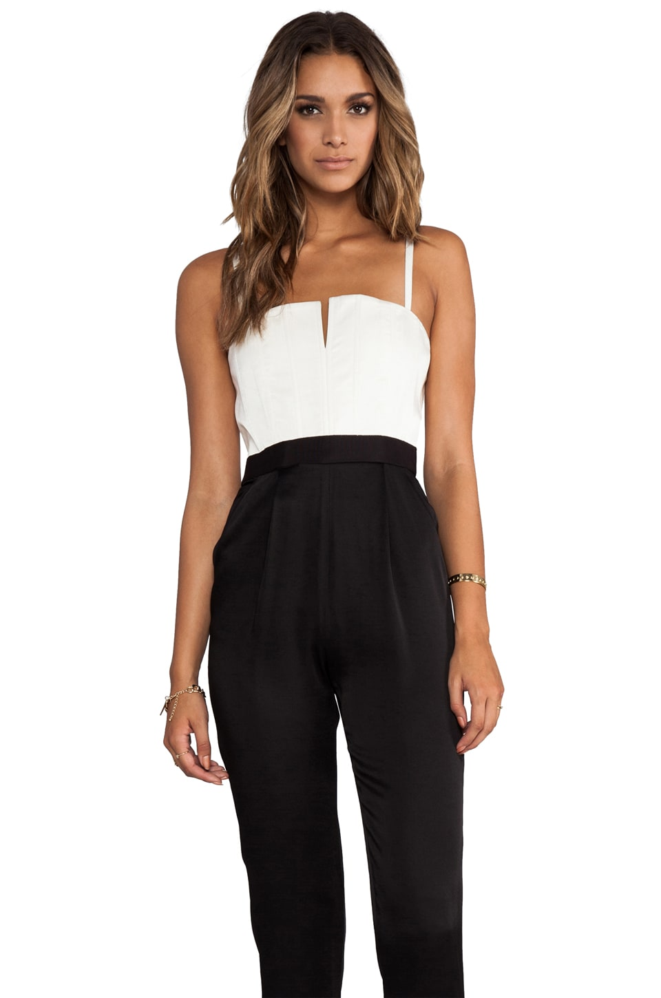Alice + Olivia Arrow Tank Pleat Pant Jumpsuit in White/Black